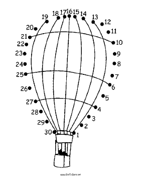 Hot Air Balloon With People Dot To Dot Puzzle
