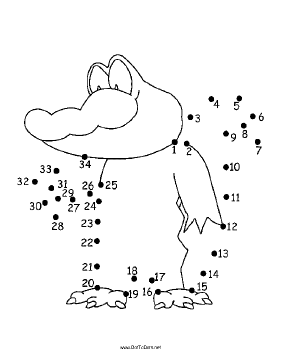 Smiling Alligator Dot To Dot Puzzle