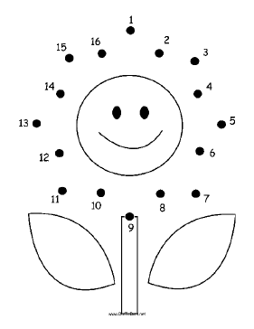 Smiling Flower Dot To Dot Puzzle