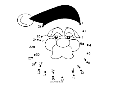 Thinking Santa Face Dot To Dot Puzzle